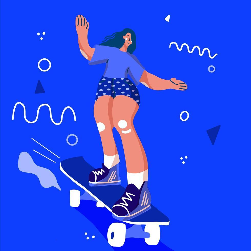 stilvolle Mädchen Skaterin i vektor