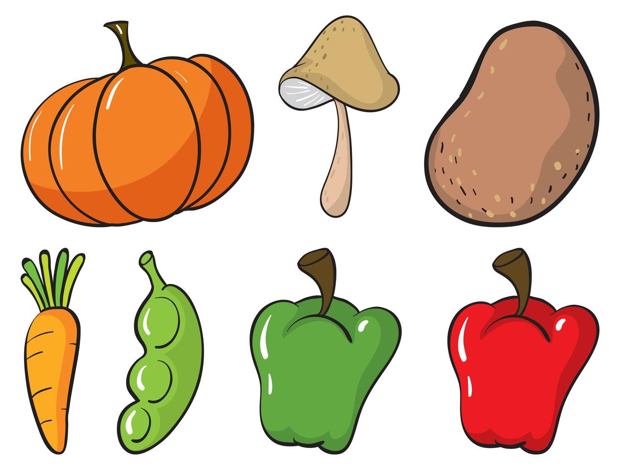 stor uppsättning frukt och grönsaker på vit bakgrund vektor