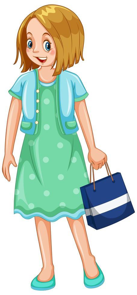kvinna med shoppingpåse på vit bakgrund vektor