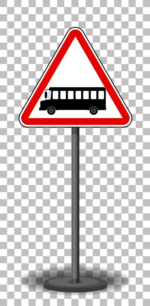 Buszeichen mit Ständer lokalisiert auf transparentem Hintergrund vektor