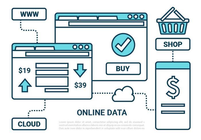 Freie Wohnung Online-Marketing-Vektor-Icons vektor