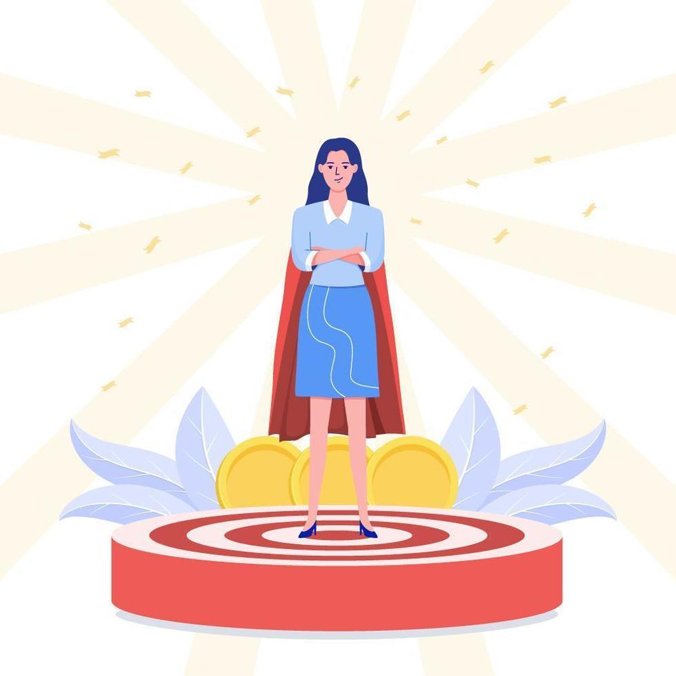 framgångsrik affärskvinna som står på vinnarpallen vektor