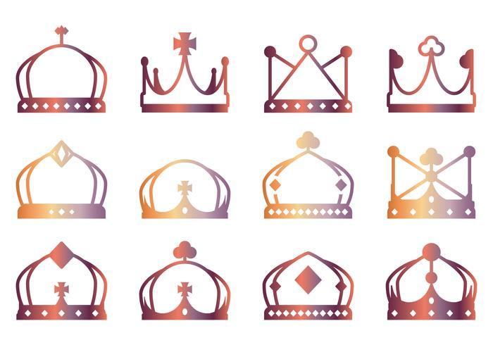 Lineart Crown Icons vektor