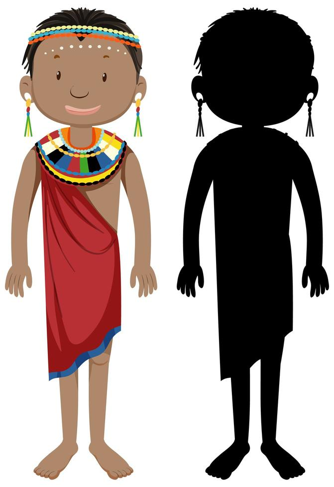 uppsättning afrikansk stam karaktär och silhuett vektor