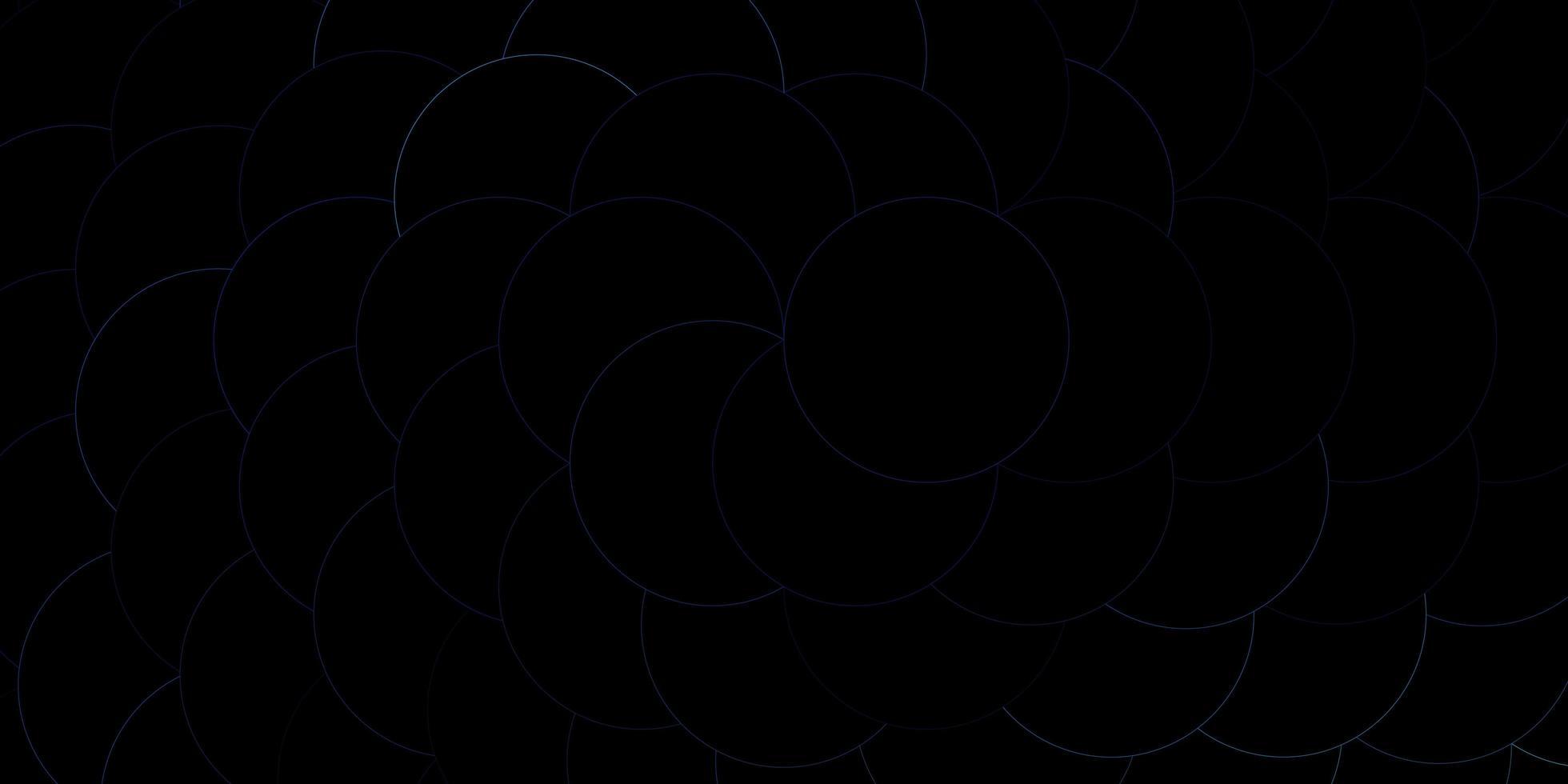 blå konturerade cirklar på mörk mall. vektor