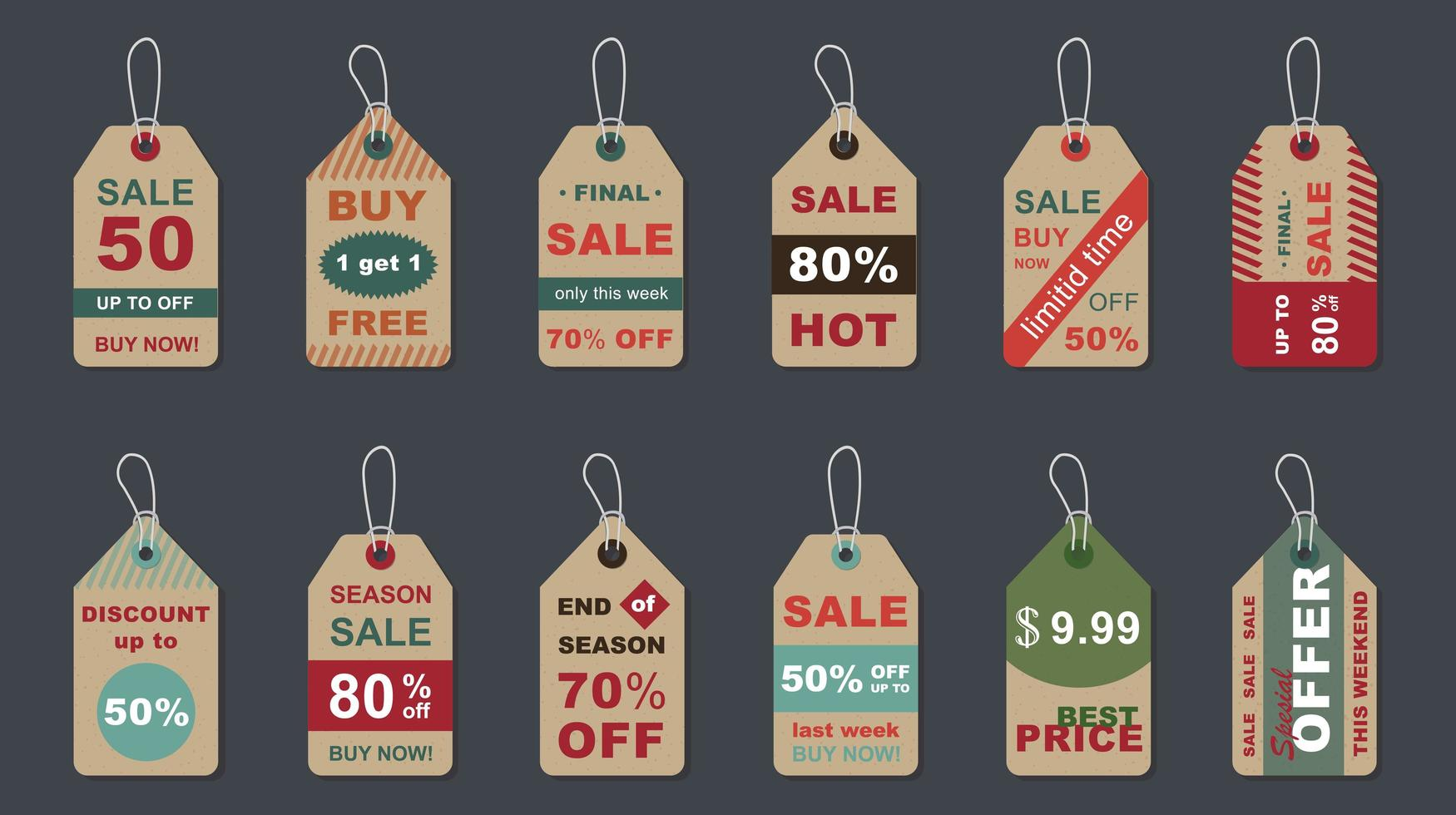 stor försäljning vintage märken set vektor