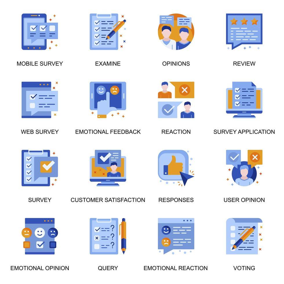 webbundersökningsikoner i platt stil. vektor
