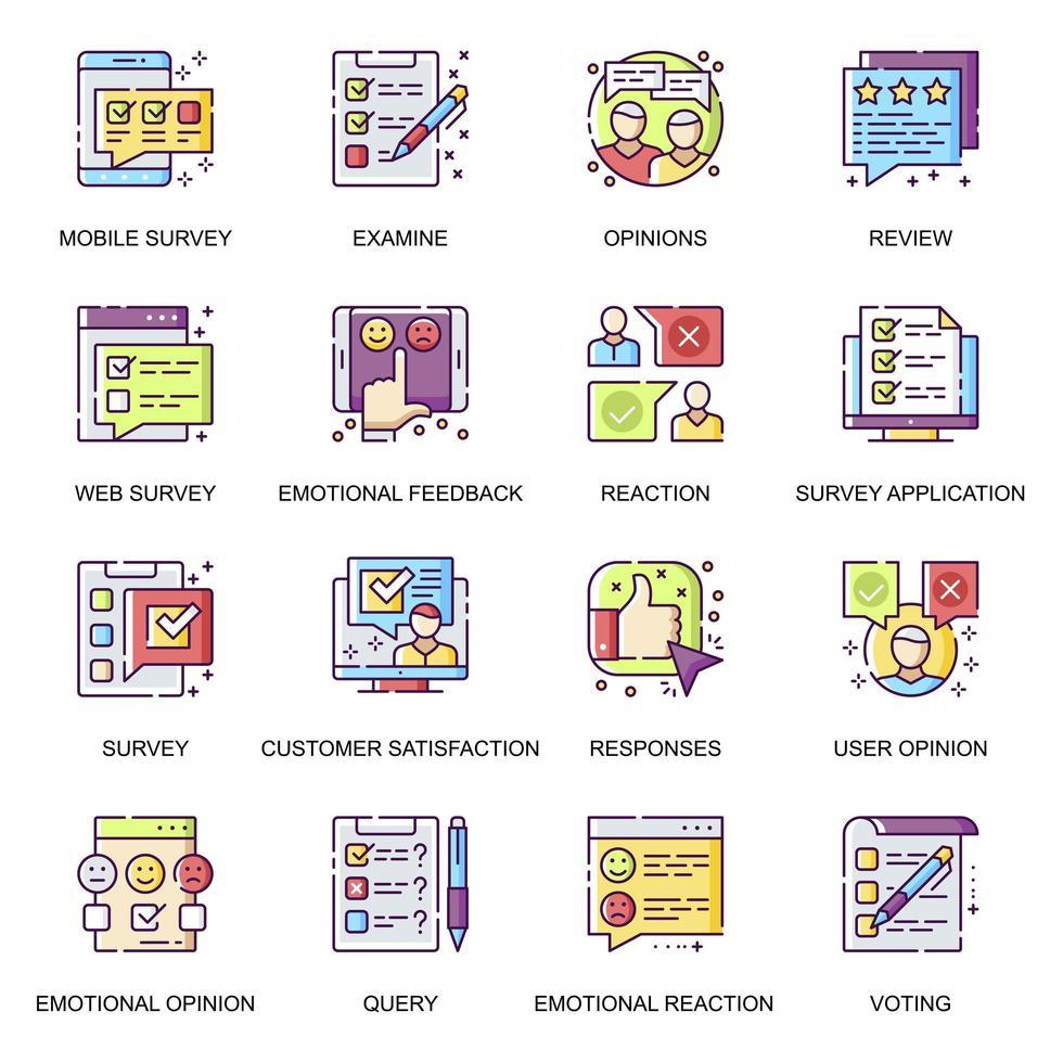 internet undersökning platt ikoner set. vektor