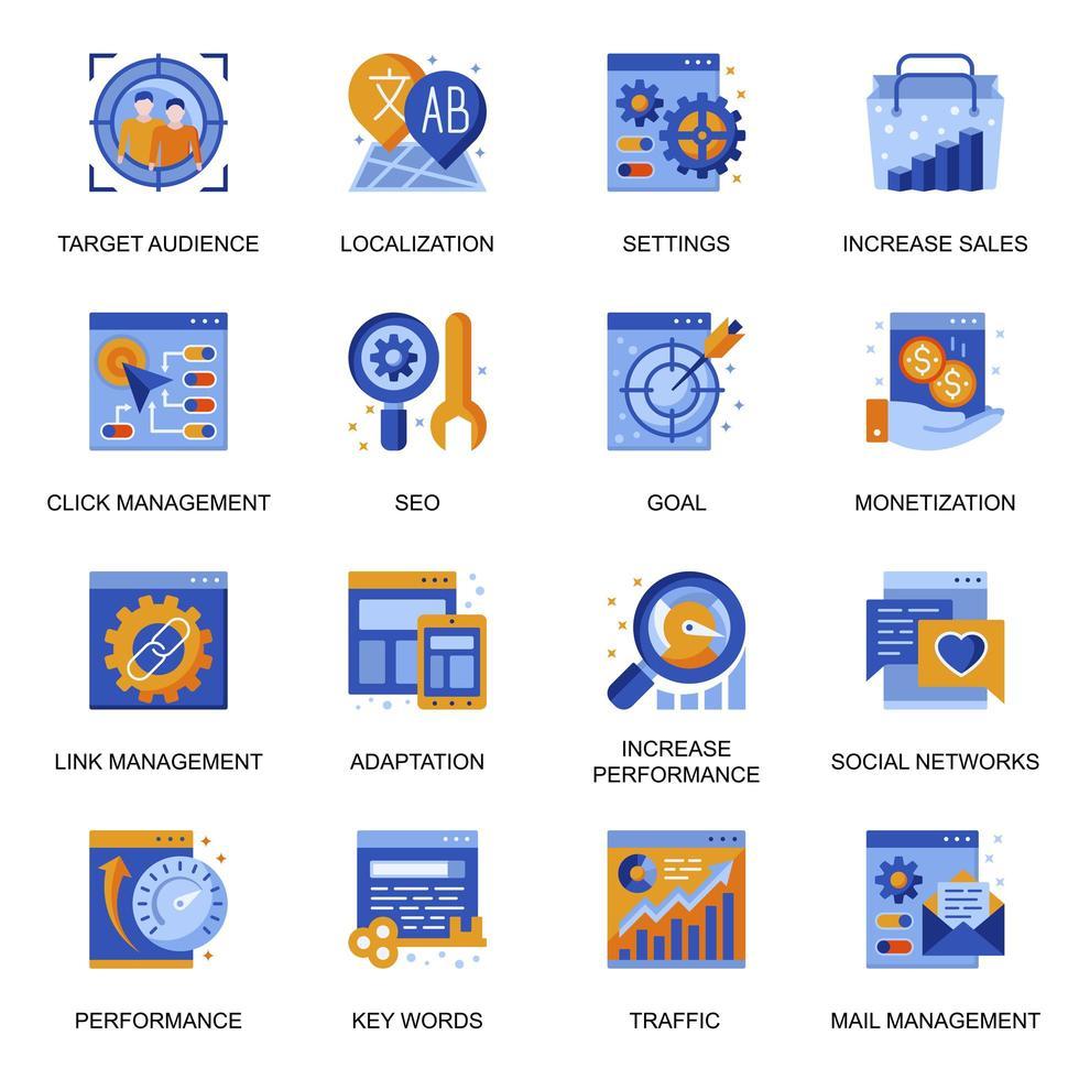 seo ikoner i platt stil. vektor