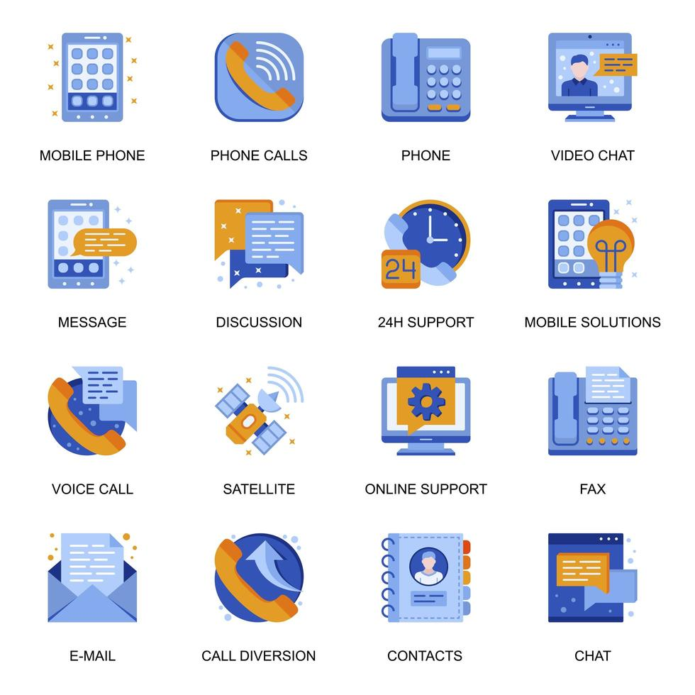 människor kommunikation ikoner i platt stil. vektor