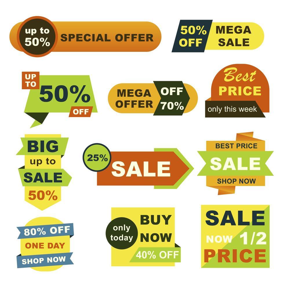 stor försäljning märken set vektor