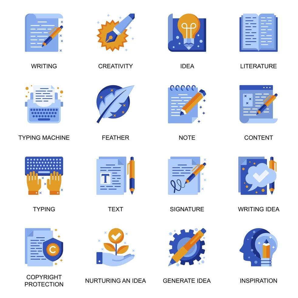 copywriting ikoner i platt stil. vektor