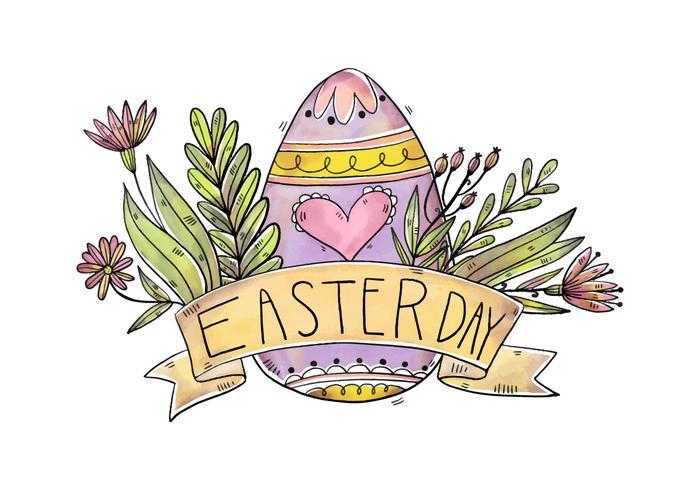 Niedliche lila Eier mit Blumen und Farbband für Ostertag Vektor