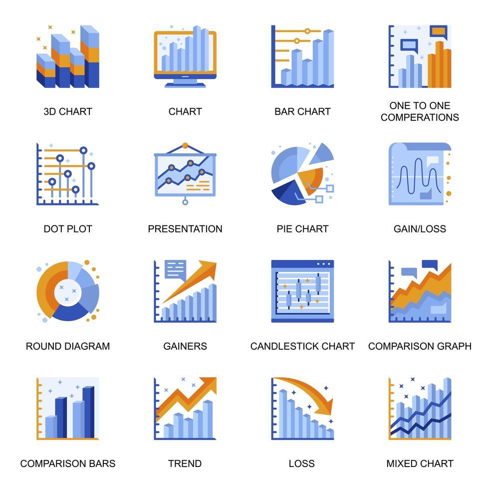 ikoner för finansiella diagram i platt stil. vektor