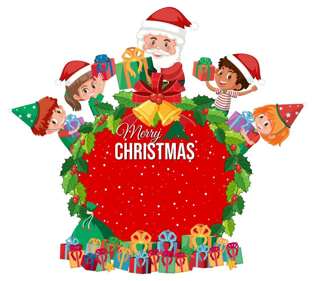 krans ram för god jul med santa och älvor vektor