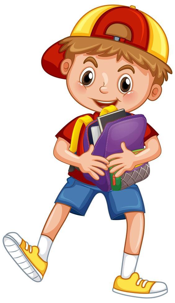 söt skolpojke håller ryggsäck vektor