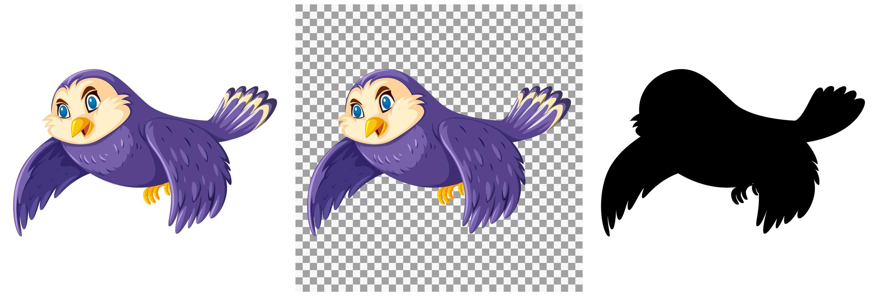 söt lila fågel seriefigur och silhuett vektor