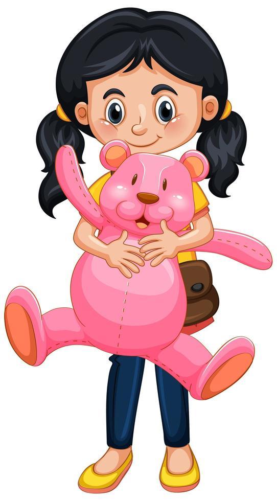 glückliches Mädchen, das Teddybär hält vektor