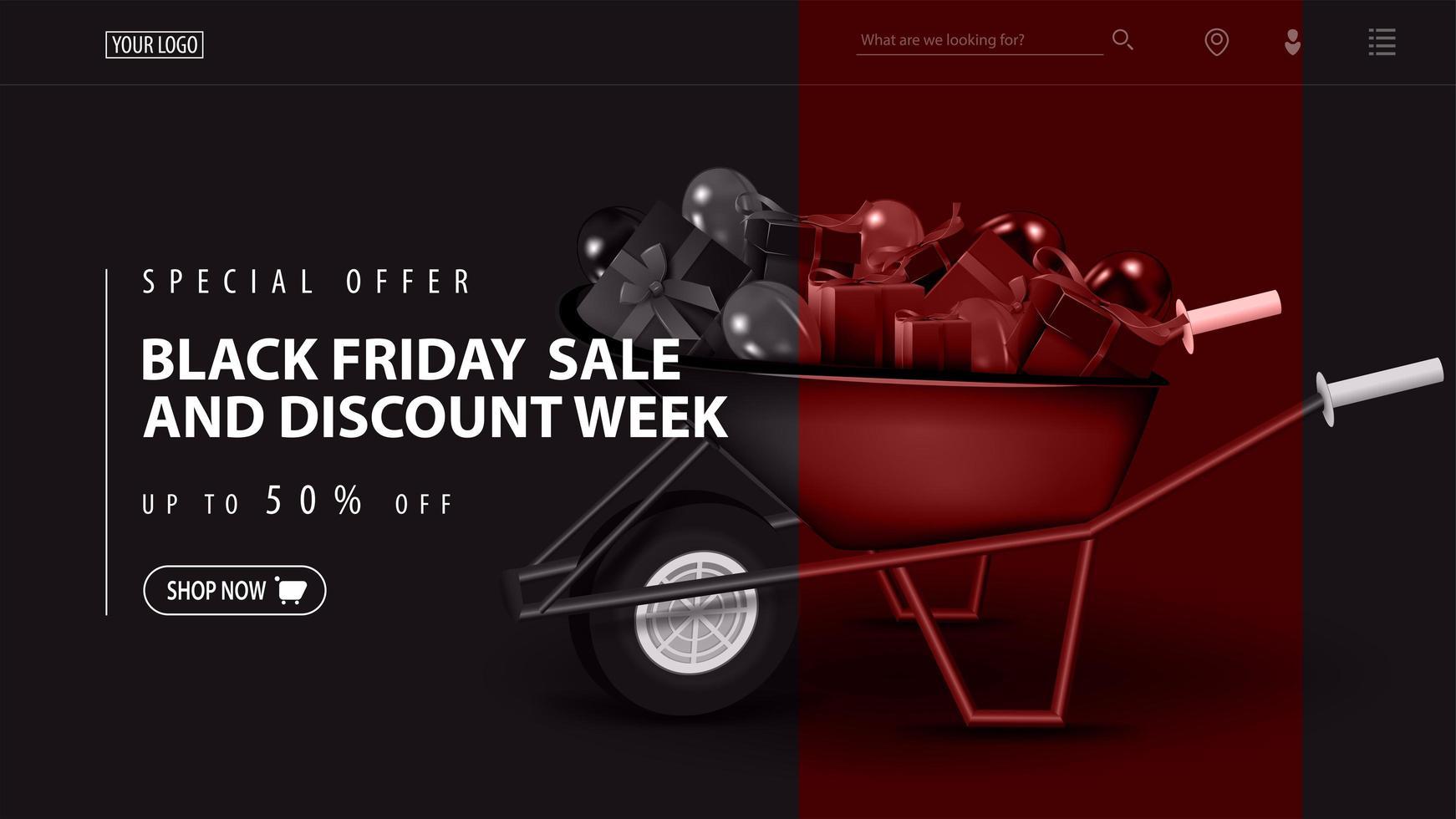 svart fredag försäljning och rabatt vecka mall med skottkärra vektor