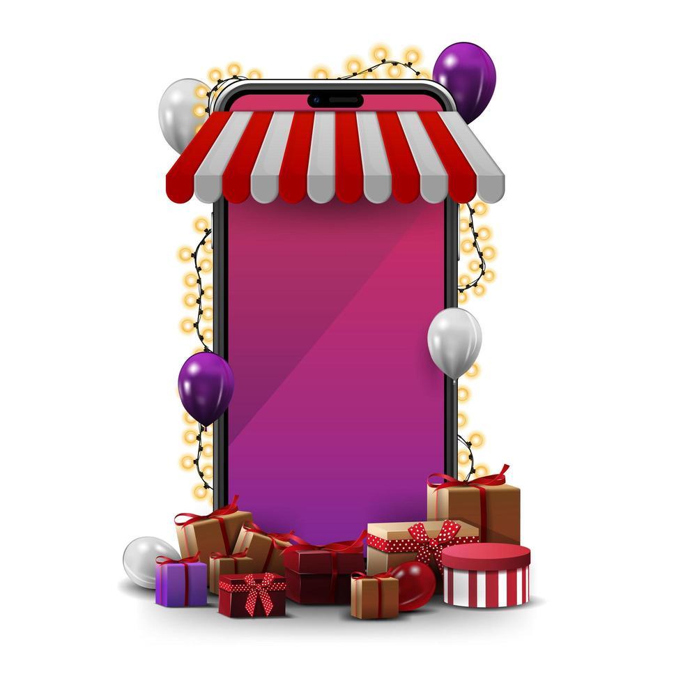 online shopping med smartphone. vektor
