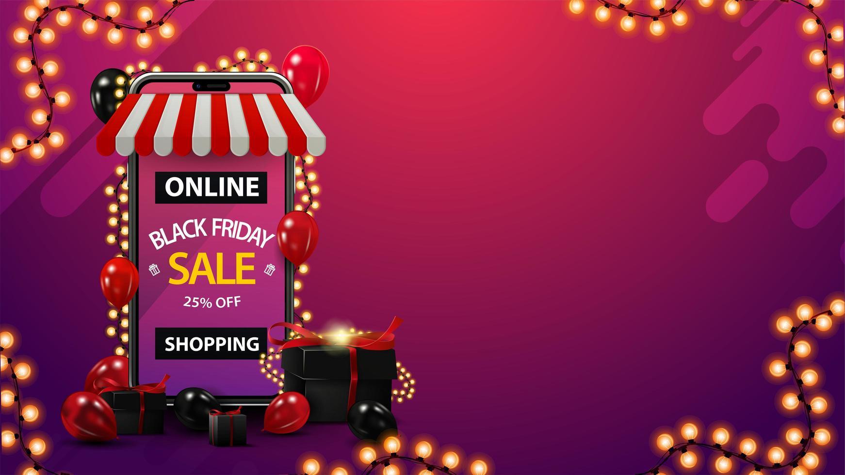 online shopping, svart fredag försäljning mall med smartphone vektor