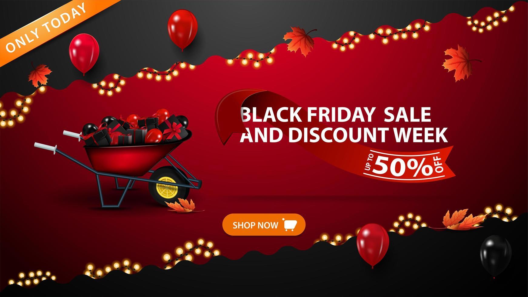 svart fredag försäljning och rabatt vecka banner vektor