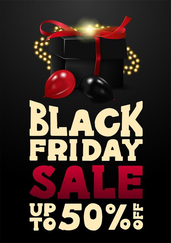 svart fredag försäljning, upp till 50 rabatt banner med gåva vektor