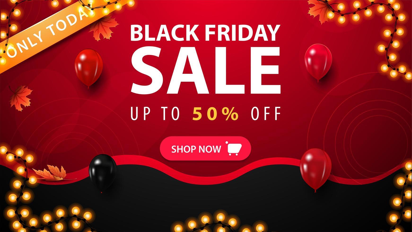 nur heute, schwarzer Freitag Verkauf Banner vektor