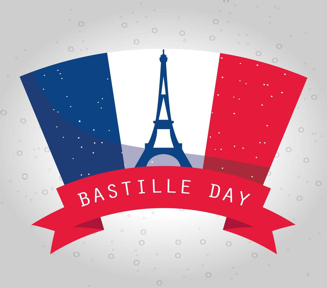 bastille dag firande banner med franska element vektor
