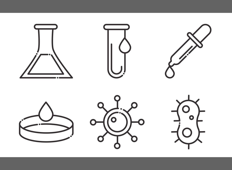 biologi, kemi och vetenskap ikonuppsättning vektor