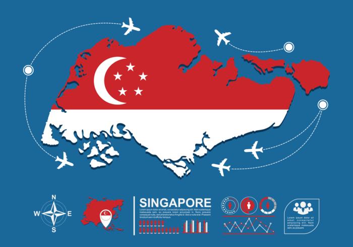 Singapur Karte Infografik vektor