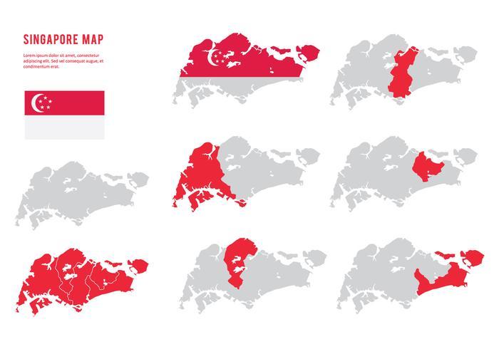Singapur Map Collection vektor
