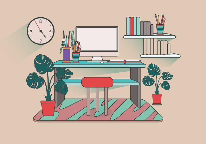 Modern Office Desk Setup Vector