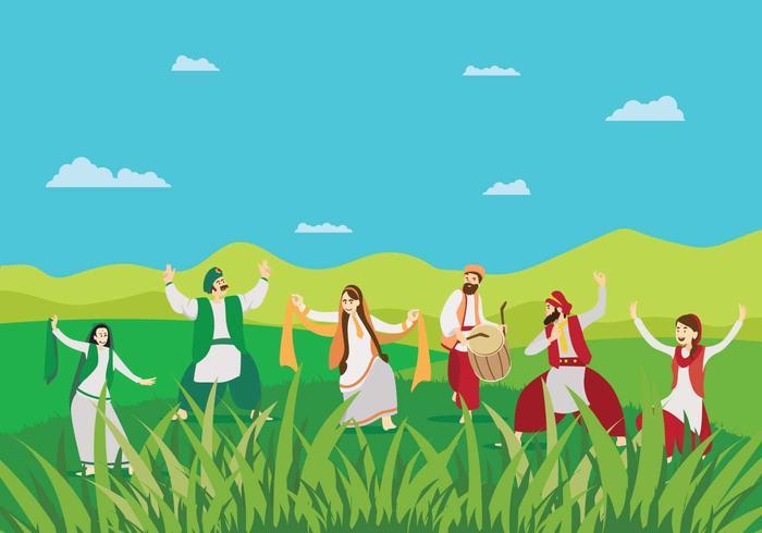 Free Man und Frauen tun Bhangra Tanz auf Grün Landschaft Illustration vektor