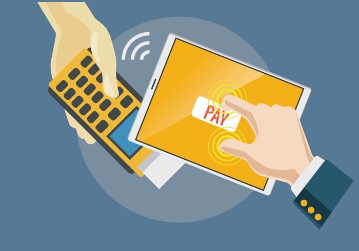 Bezahlen mit NFC-System und Handy-Vektor vektor