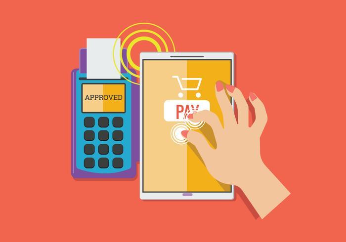 Kunden Bezahlen einen Händler mit mobiler NFC-Technologie vektor