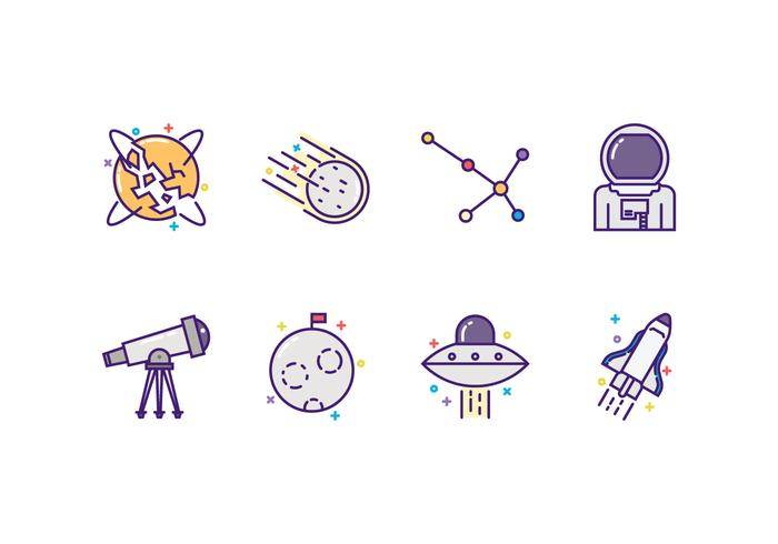 Vektor Astronomi Icon Set