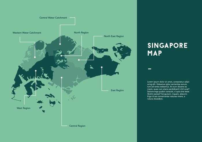 Grüne Singapur Karte Vektor