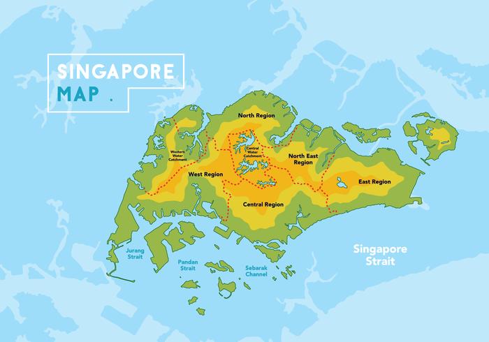 Singapore Karta Vector Illustration