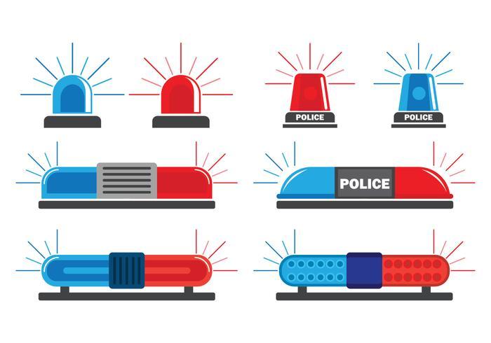 Polizei Lichter Vector Icons Set