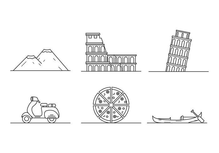 Fria Ikoniska Italien vektorer