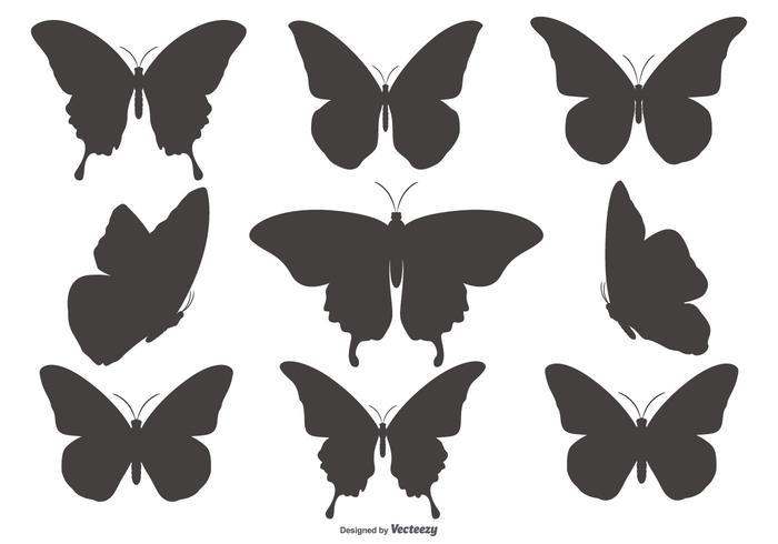 Fjärilssilhouette former Collection vektor