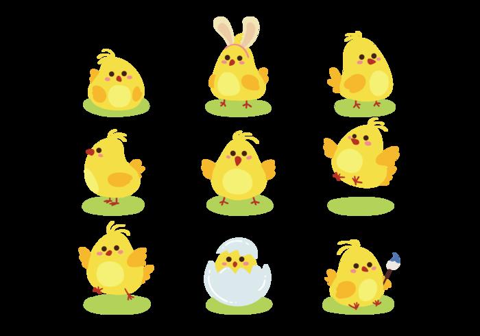 Påsk Chick Cute Ikoner vektor