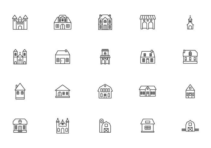 Historiska och koloniala byggnader vektorer