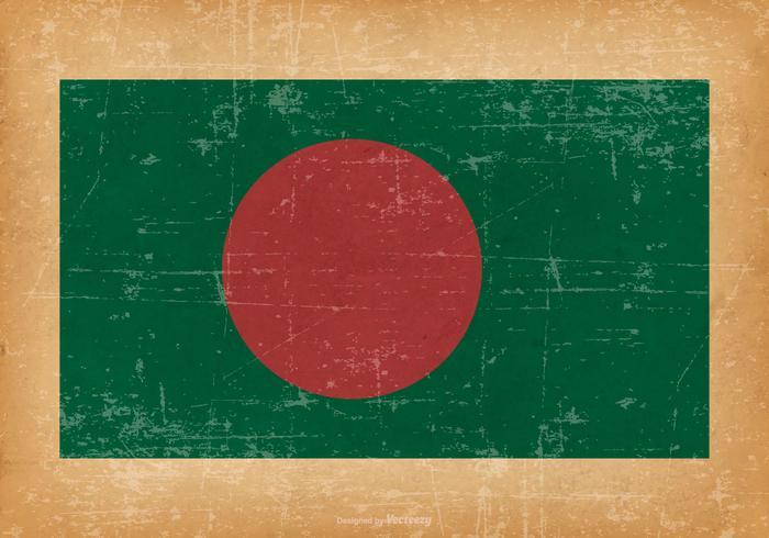 Flagge von Bangladesch auf Grunge Hintergrund vektor