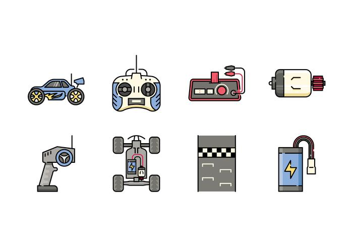 Ferngesteuertes Spielzeug Icons vektor
