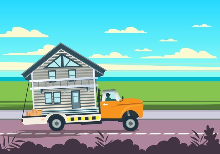 Startseite On Moving Truck Vector
