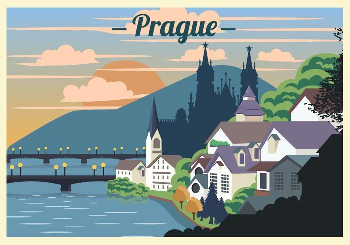 Prag Landschaft Szene Vektor