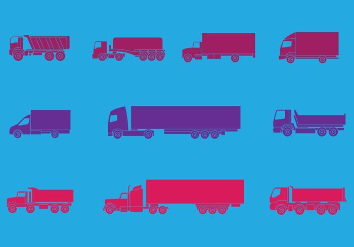 Camion och lastbilar ikoner Set vektor