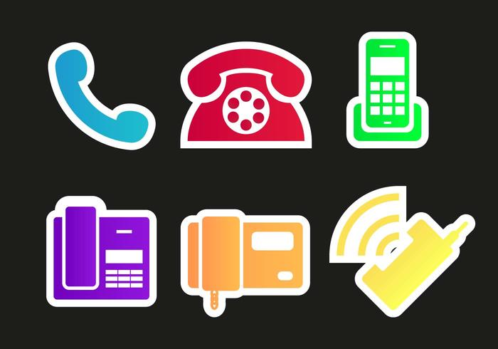 Tel Phones Icons Vector